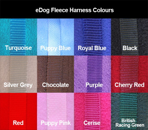 eDog fleece harness colours